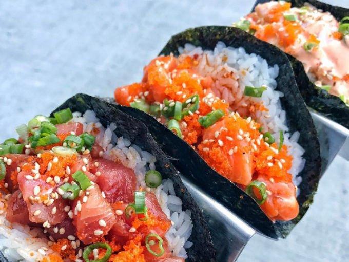 tacos exoticos - tacos de sushi