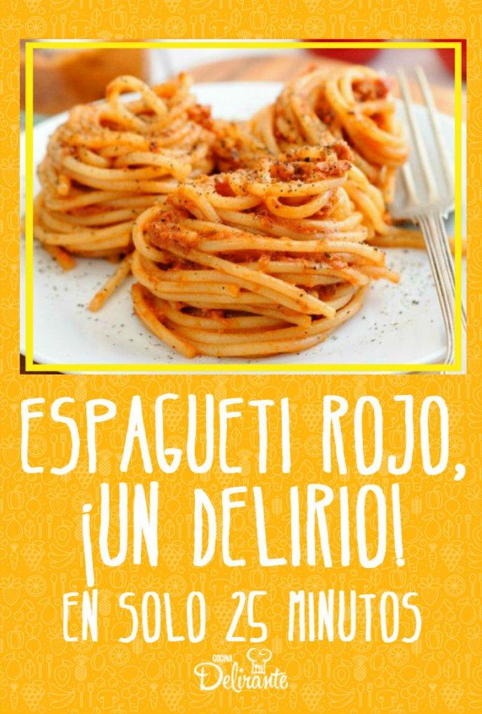 Receta de espagueti rojo | CocinaDelirante