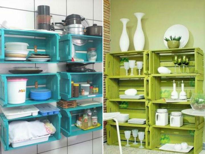 7 formas de hacer una alacena con huacales for Trastes de cocina