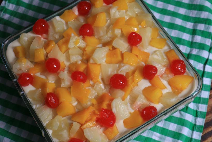 postre galletas maria- leche condensada fruta | CocinaDelirante