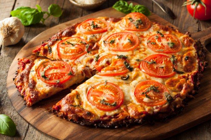 Pizza con costra de coliflor