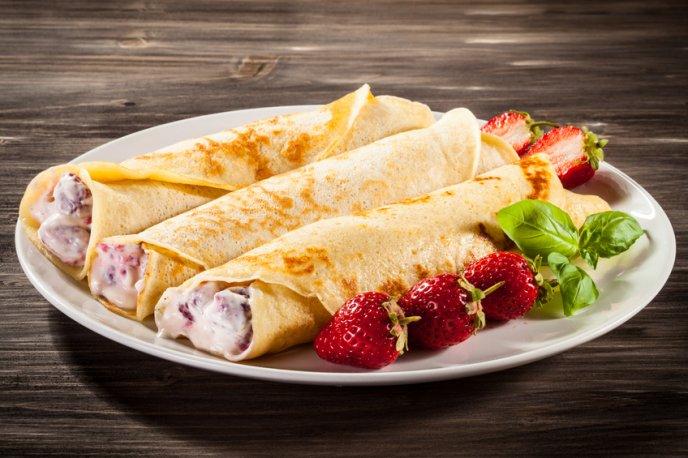 Crepas con queso y fresas