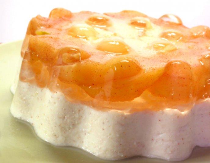 Deliciosa gelatina de manzana con queso crema