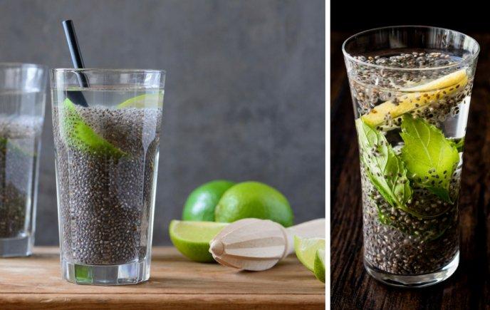 Agua con limon y chia para bajar de peso
